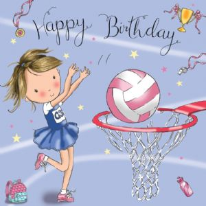 TW671 - Netball Birthday Card Girls